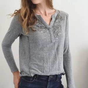 Anthropologie Akemi + Kim Grey Beaded Top New